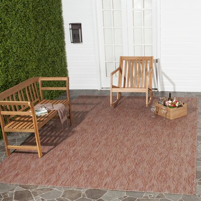 Lefferts Red Indoor/Outdoor Area Rug Rug Size: Rectangle 27 x 5