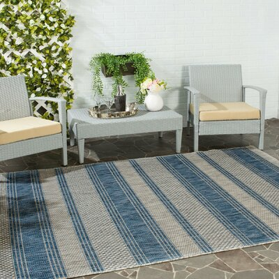 McCall Gray/Navy Indoor/Outdoor Area Rug Rug Size: 53 x 77