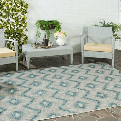 Mcguffin Gray/Blue Indoor/Outdoor Area Rug Rug Size: Rectangle 9 x 12