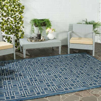 Romola Navy/Grey Area Rug Rug Size: Rectangle 53 x 77