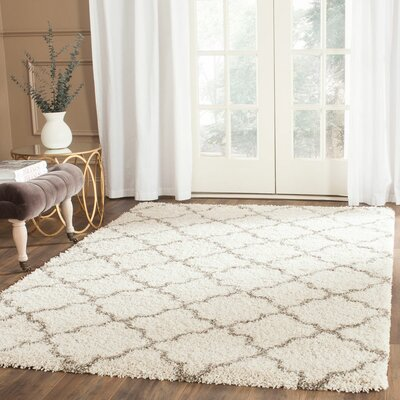 Samira Shag Ivory/Gray Area Rug Rug Size: Rectangle 51 x 76
