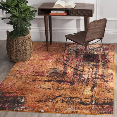 Cabinwood Orange Area Rug Rug Size: Rectangle 67 x 92
