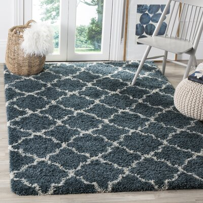 Melvin Modern Shag Blue/Beige Area Rug Rug Size: Rectangle 4 x 6