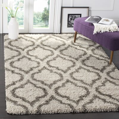 Melvin Shag Beige/Gray Area Rug Rug Size: Rectangle 3 x 5