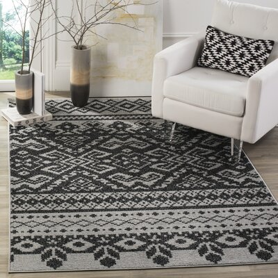 Gatineau Silver/Black Area Rug Rug Size: Rectangle 26 x 4