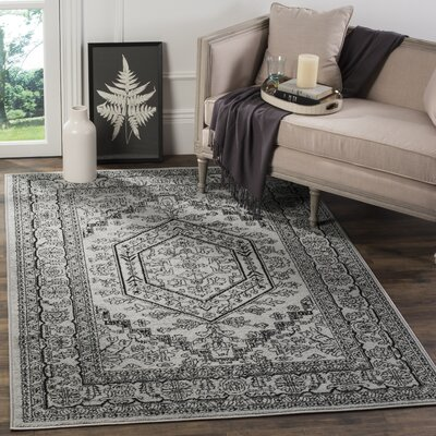 Ischua Silver/Black Area Rug Rug Size: Rectangle 11 x 15