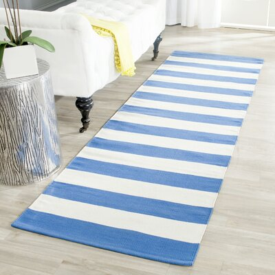 Brookvale Hand-Woven Cotton Blue/Ivory Area Rug Rug Size: Runner 23 x 7