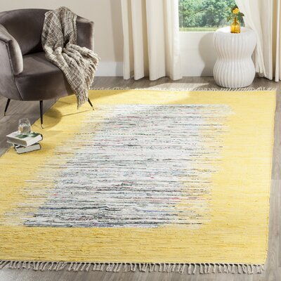 Ona Hand-Woven Cotton Ivory/Yellow Area Rug Rug Size: Rectangle 5 x 8