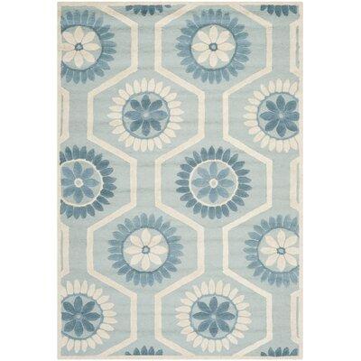 Martins Hand-Tufted Blue/Ivory Area Rug Rug Size: Rectangle 5 x 8