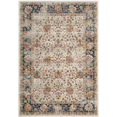 Grieve Cream/Navy Area Rug Rug Size: Rectangle 9 x 12