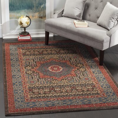 Alto Blue/Red Area Rug Rug Size: 51 x 77