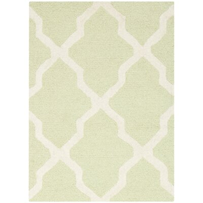 Charlenne Hand-Tufted/Hand-Hooked Light Green/Ivory Area Rug Rug Size: Rectangle 3 x 5