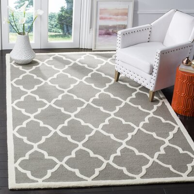 Charlenne Hand-Tufted Dark Grey/Ivory Area Rug Rug Size: Rectangle 2 x 3