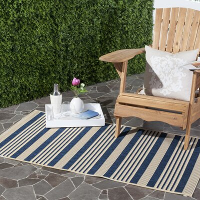 Sophina Navy/Beige Indoor/Outdoor Area Rug Rug Size: 9 x 12
