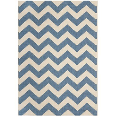 Jefferson Place Blue/Beige Indoor/Outdoor Area Rug Rug Size: Rectangle 4 x 57