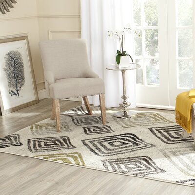 Shroyer Geometric Ivory/Black Area Rug Rug Size: Rectangle 53 x 77