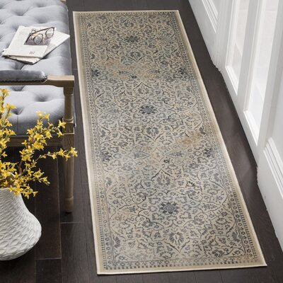 Malakoff Cream/Light Blue Area Rug Rug Size: Runner 22 x 8