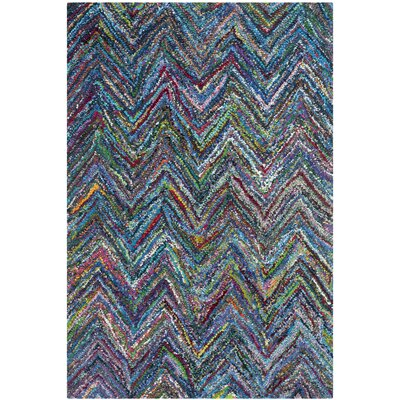 Naguib Hand-Tufted Multi/Blue Area Rug Rug Size: 4 x 6