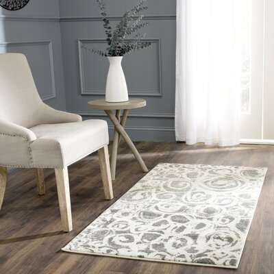 Nanette Dark Gray/Ivory Area Rug Rug Size: Rectangle 27 x 5
