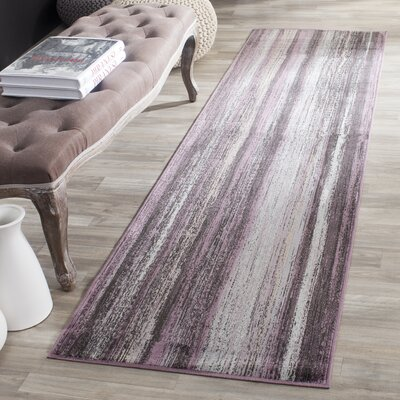Zelda Purple/Charcoal Area Rug Rug Size: Runner 22 x 8