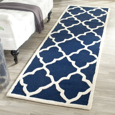Charlenne Hand-Tufted Navy/Ivory Area Rug Rug Size: Rectangle 2 x 3