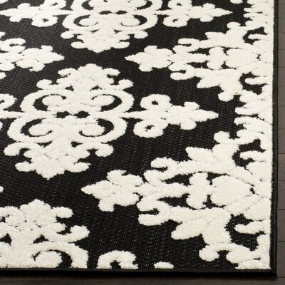Bryan Black/Cream Indoor/Outdoor Area Rug Rug Size: Rectangle 53 x 77