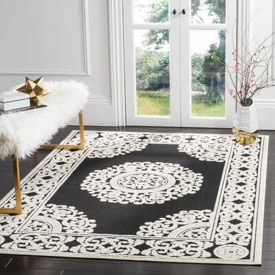 Prompton Black/Cream Area Rug Rug Size: Rectangle 53 x 77