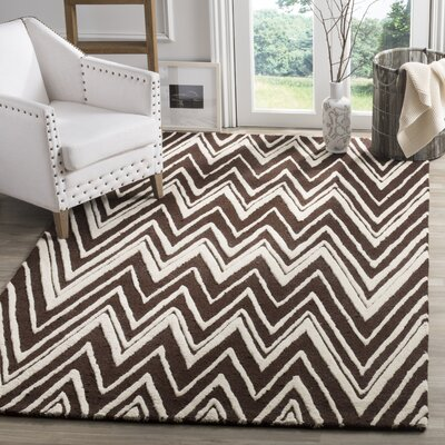 Martins Hand-Tufted Brown Area Rug Rug Size: Rectangle 6 x 9