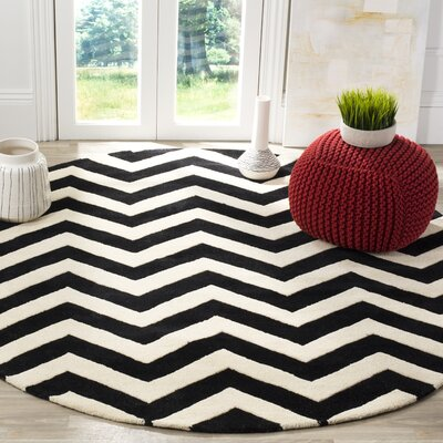 Wilkin Chevron Hand-Tufted Wool Ivory/Black Area Rug Rug Size: Round 5