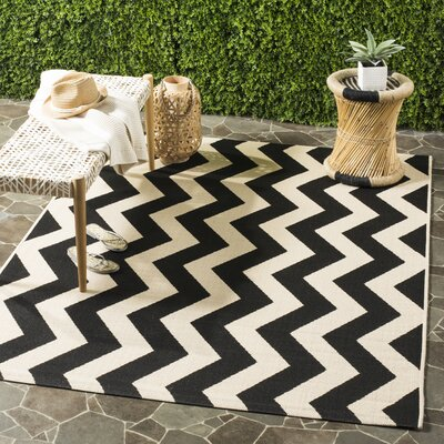 Jefferson Place Black/Beige Indoor/Outdoor Area Rug Rug Size: Rectangle 67 x 96