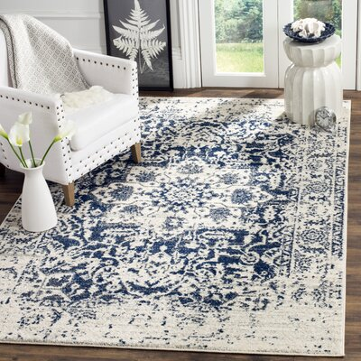 Loretta Cream/Navy Area Rug Rug Size: Runner 23 x 18
