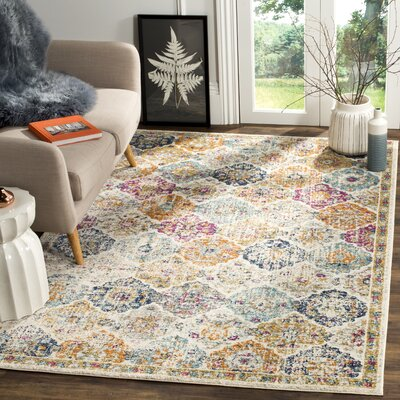 Grieve Cream Area Rug Rug Size: Rectangle 12 x 18