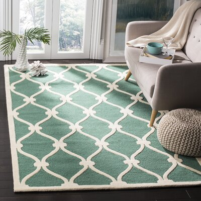 Martins Hand-Tufted Wool Teal/Ivory Area Rug Rug Size: Rectangle 3 x 5