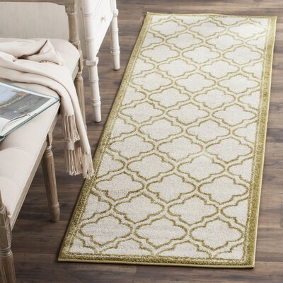 Maritza Ivory/Light Green Indoor/Outdoor Area Rug Rug Size: Runner 23 x 7