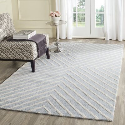 Weybridge Hand Woven Wool Light Blue/Ivory Area Rug Rug Size: Rectangle 5 x 7