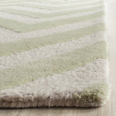 Charlenne Hand-Tufted Light Green / Ivory Area Rug Rug Size: 4 x 6