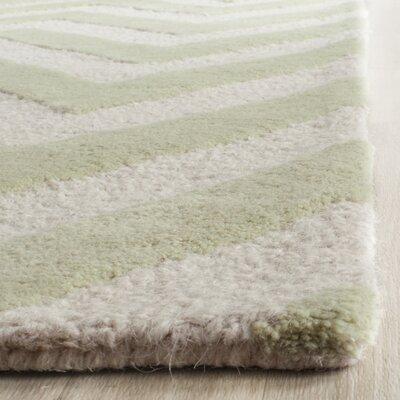Charlenne Hand-Tufted Light Green / Ivory Area Rug Rug Size: 4 x 6