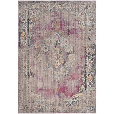 Fitzhugh Fuchsia/Light Gray Area Rug Rug Size: Rectangle 51 x 76