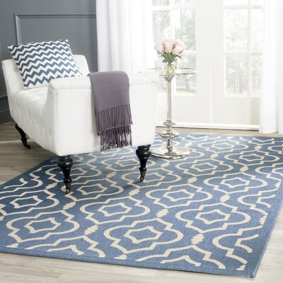 Octavius Blue/Beige Outdoor Area Rug Rug Size: Rectangle 53 x 77