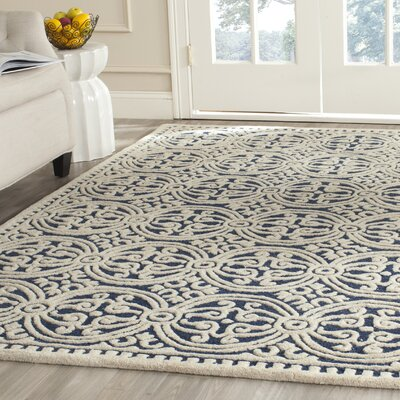 Fairburn H-Tufted Wool Navy Area Rug Rug Size: Rectangle 4 x 6
