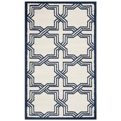 McArthur Ivory/Navy Indoor/Outdoor Area Rug Rug Size: Rectangle 3 x 5