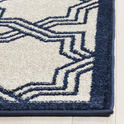 McArthur Ivory/Navy Indoor/Outdoor Area Rug Rug Size: Rectangle 8 x 10