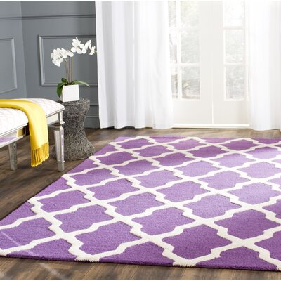 Charlenne Hand-Tufted Purple/Ivory Area Rug Rug Size: Rectangle 3 x 5