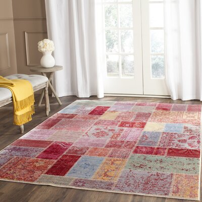 Thanh Red/Pink Area Rug Rug Size: Rectangle 4 x 6