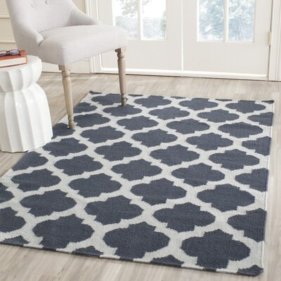 Dhurries Hand-Woven Wool Blue/Ivory Area Rug Rug Size: Runner 26 x 7