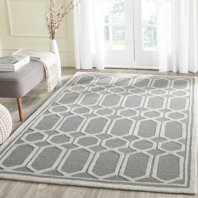 Harbin Hand-Tufted Gray/Ivory Area Rug Rug Size: Rectangle 6 x 9