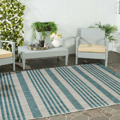 Naya Gray/Blue Indoor/Outdoor Area Rug Rug Size: Rectangle 27 x 5