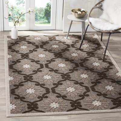 Bryan Light Brown/Brown Indoor/Outdoor Area Rug Rug Size: Rectangle 4 x 6