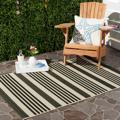 Sophina Black Indoor/Outdoor Area Rug Rug Size: Rectangle 27 x 5