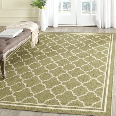 Short Green/Beige Indoor/Outdoor Area Rug Rug Size: Rectangle 53 x 77